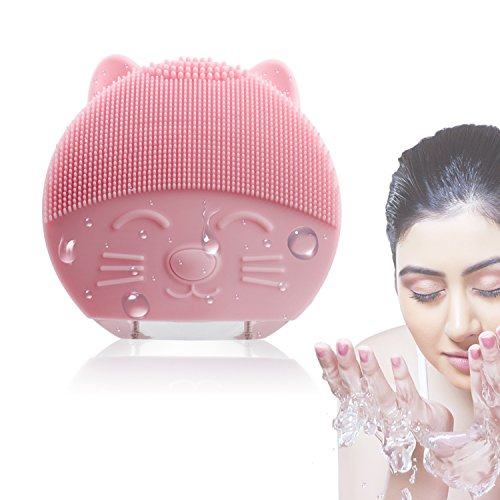 Silicone Facial Cleansing Brush Rechargeable - Deep Cleansing the Dirt or Makeup Residue From the Skin Pore, Electric Waterproof Sonic Facial Cleansing Brush and Massager for women(pink)