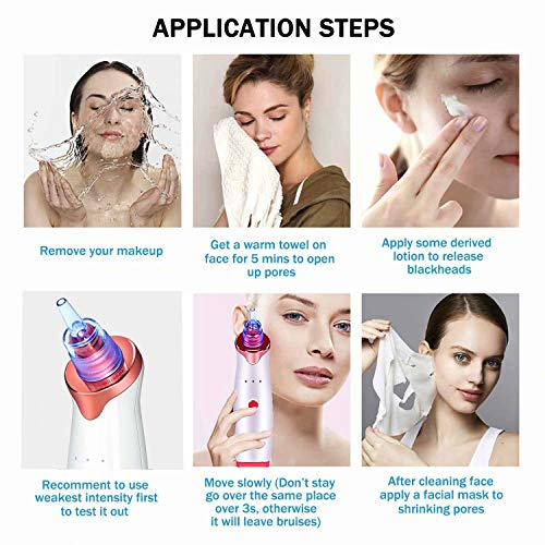 Blackhead Remover Pore Vacuum Electric Facial Acne Suction Vaccumm Removal Extractor Rechargeable with 5 Probes for Women Men Face Nose Black-Head White-Head Comedone