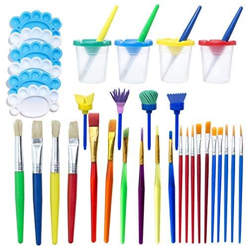 Fanciher 34Pcs No Spill Paint Cups Set Paint Supplies Include Paint Cups with Lids Palette Tray Muti Sizes Paint Pen Brushes Set for Kids Gifts School Prizes Art Party (34 Pcs)