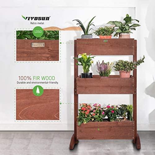 VIVOSUN 3 Tier Raised Garden Bed Flower Rack Vertical Wooden Plant Rack Classification Storage Box