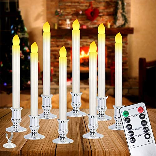 Christmas Window Candles Lights,8 Pack Battery Operated Flameless Xmas Window Candles with Remote Control and Timer,Removable Silver Holder, Suction Cup for Seasonal & Festival Celebration,Warm White