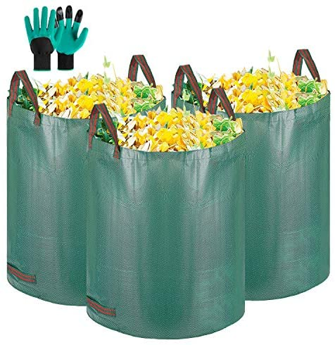 VIVOSUN 3-Pack 72 Gallons Reusable Heavy-duty Garden Waste Bags(30'' H x 26'' D) Garden Leaf Waste Bag, with Gardening Gloves
