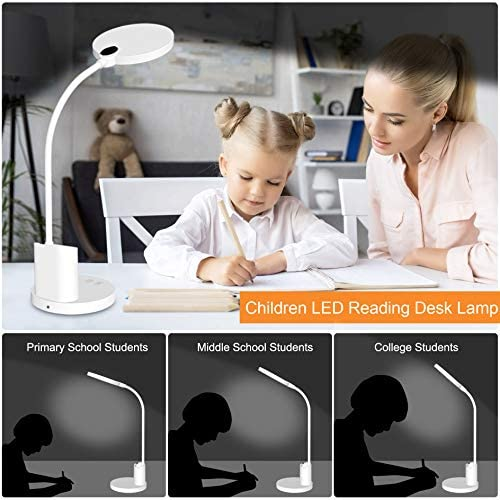 LED Desk Lamp, Dimmable Stepless Touch, Sailstar Eye-Caring Rechargeable Reading Lamp, 3 Lighting Modes, 360° Flexible Gooseneck Lamps with Pen Holder, 30 Mins Timing, 800 Lumens, Include Battery