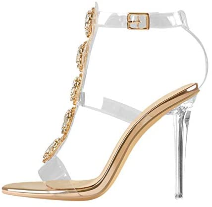 LISHAN Clear Rhinestones Heels for Women Stiletto Heels Ankle Strap Sandals