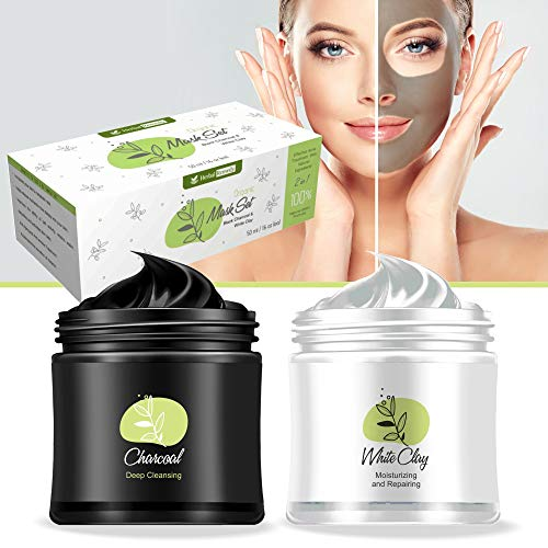 Herbal Remedy Organic Clay and Charcoal Mud Mask – 2 in 1 100% Natural Detox Hydrating and Cleansing Face Mask – Effective Acne Treatment, Blackhead Remover, Minimize Pores, Anti Aging Organic Masque