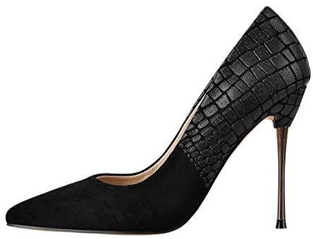 LISHAN Women's Stiletto Pointed Toe Slip On Pump