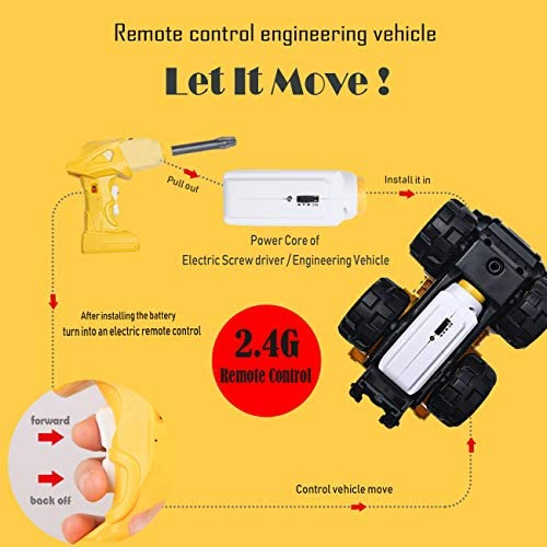 IFLOVE RC Engineering Toys Vehicle Take Apart Toys with Electric Drill Converts to Remote Control Car Toys Transformers Construction Mini Vehicles Excavator Mud Truck Removable Parts (Five-in-one)