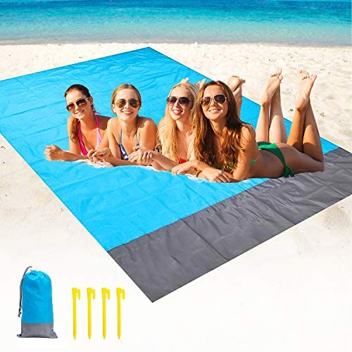 Beach Blanket Waterproof Sand Proof - Oversized Lightweight Beach Mat, Quick Drying & Compact - Outdoor Portable Blanket for Camping Picnics Hiking