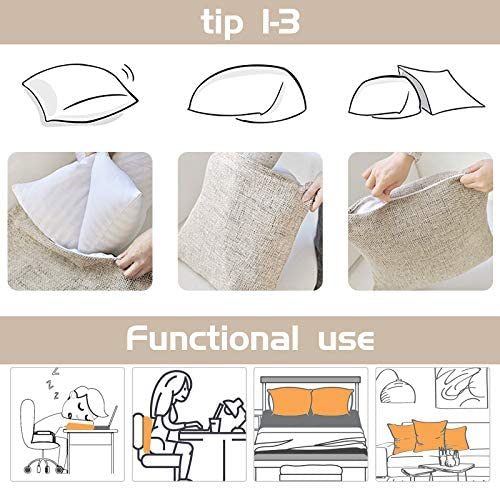 SKCAZA Throw Pillow Covers and Cases Set Autumn Fall Pumpkin Farmhouse Decorative Cotton 18x18 Inch Harvest Thanksgiving Linen Square Outdoor Cushion Cover Sofa Home Pillowcases for Sofa Pack of 4