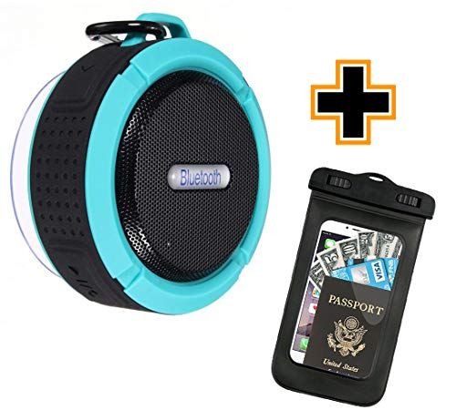 Waterproof Floating Bluetooth Speaker | Portable Wireless Outdoor, Swimming Pool, Shower Water-Resistant Bluetooth Speaker with Suction Cup, Built-in Mic, Hands-Free Speakerphone
