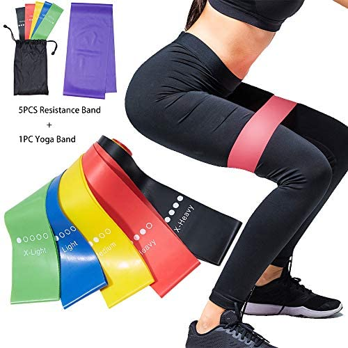 5pc Pilates Flexbands + 1pc Yoga Strap with 5 Resistance Levels Exercise Sport Loop Booty Band for Muscle Leg Arm Glute Home Gym Workout Fitness Stretching Strength Training Physical Therapy