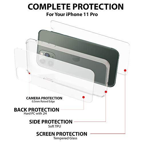 "Case + Screens Protection Pack iPhone 11 Pro (5.8"") Zorquax Slim Transparent Clear Case Hybrid (Hard PC Back, Soft TPU Sides) Shockproof Case-on Charging Case & 2X 9H Tempered Glass Screen Protectors"