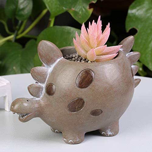 Cartoon Resin Dinosaur Succulent Planter Bonsai Cactus Flower Pot Air Plant Vase Holder Desktop Decorative Organizer