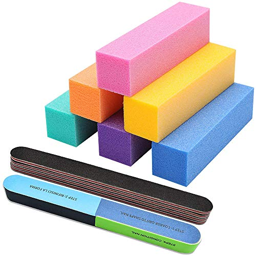 Nail Files and Buffers Professional Colorful Manicure Pedicure Tools Kit Rectangular Art Care Buffer Block Tools 100/180 Grit