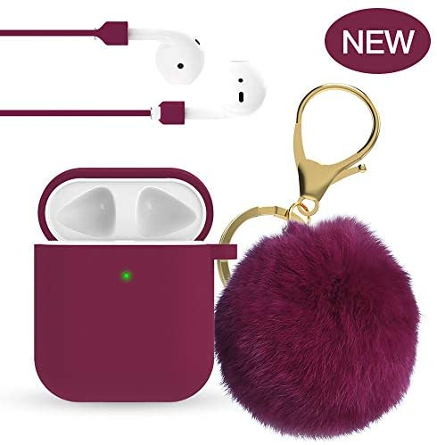 for Airpod Case - 2019 Upgrade OULUOQI for Cute Airpods Case Cover with Pom Pom Keychain Compatible with Apple Airpods 2 &1 (Front LED Visible)