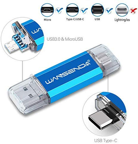 WANSENDA 3 in 1 OTG USB Flash Drive USB3.0/3.1 & Type-C & Micro USB Photo Storage Stick (256GB, Blue)