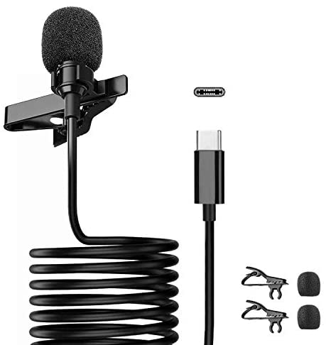 Lavalier Microphone with Type-C for Android Smartphones, 360° Omnidirectional Condenser Clip-on Lapel Microphone for Interview, Studio, Video, Vlogging,YouTube,Recording,Zoon Meeting
