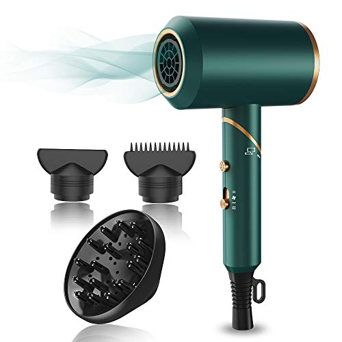 Portable Hair Blow Dryer Professional Salon Ionic, Lightweight with Heat/Cool Button, 3 Magnetic Attachments (Green)