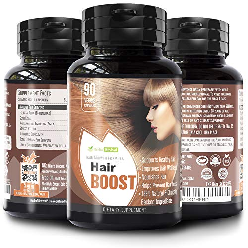 Natural Hair Growth Vitamins - Healthier, Thicker and Longer Hair Regrowth, Damaged Hair Treatment, Stops Hair Loss, Formulated With Eclipta Alba, Gotu Kola and More, All Hair Types 90 Veg Capsules