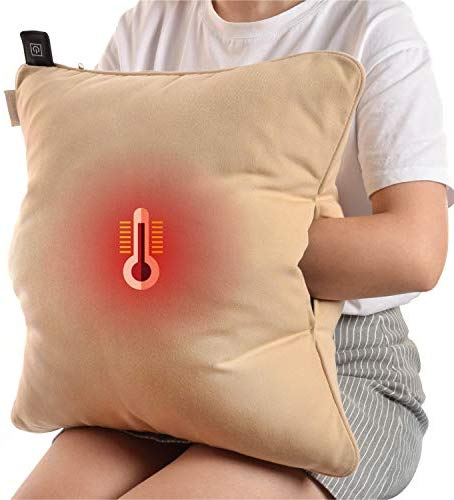 Naconic Electric Heated Throw Pillow Scatter Cushion with Hand Pockets Warmer, 3 Heating Levels, Operated by Powerbank [Ivory]