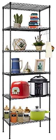 6 Tier Standing Organizer Shelf with Hooks, Adjustable Height Storage Shelf Shelving Rack (Black)