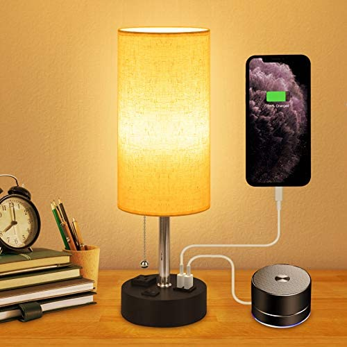 USB Bedside Lamp - Honesorn Nightstand Lamp with Charging Ports,Night Table Lamp for Bedroom,Night Lamp with Pull Chain,Fabric Linen Cylindrical Lampshade, LED Bulb Included