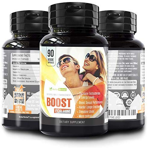 Herbal Revival Boost for Him - Natural Male Enhancement Pills - Penis Enlargement & Enhancing Sexual Performance Formula - Increases Testosterone Levels & Dick Size – 100% Organic 90 Vegetable Cellulose Capsules