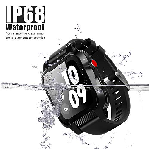 Apple Watch Waterproof Case 42mm, iWatch Case IP68 Waterproof Shockproof Impact Resistant Protective Case with Strap Bands for Apple Watch Waterproof Case 42mm Series 3&2 (for 42mm Apple Watch Case)