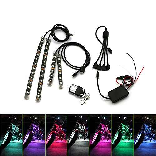 Motorcycle Accent Light ZXREEK 4pcs RGB LED Atmosphere Kit Waterproof Strips Multi-Color Underglow Neon Lights RF Remote Controller for Harley Davidson Honda Kawasaki Suzuki Ducati KTM BMW