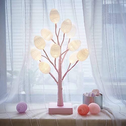 Hairui Lighted Pastel Pink Tree with White Eggs 12LED 18IN Battery Operated with Timer for Christmas Easter Home Decoration Indoor Use