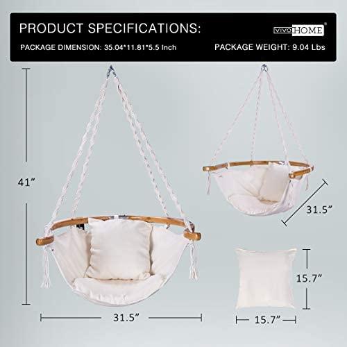 VIVOHOME Hanging Hammock Chair with Armrest, 440 lbs Capacity, Perfect for Indoor Outdoor, Patio, Deck, Yard, Garden