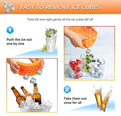 Silicone Ice Cube Tray Mould - BPA Free Ice Cube Trays with lid, Easy Release Ice tray for Freezer, Cocktail & Whiskey, Baby Food (2 Pack)