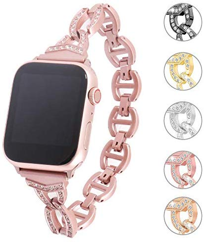 Miniseas Rhinestone Alloy Band Compatible with Apple Watch Band 38mm 40mm Wristband Women Replacement Wrist Strap Replacement Bracelet for iWatch Series 5/4/3/2/1 42mm 44mm (Pink, 42MM-44MM)