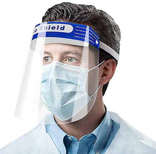 Face Shield Protect Eyes Face with Clear Open Protective Film Elastic Band Comfort Sponge, Windproof Dustproof Anti-Spitting Isolation Hat Shield 2 pieces