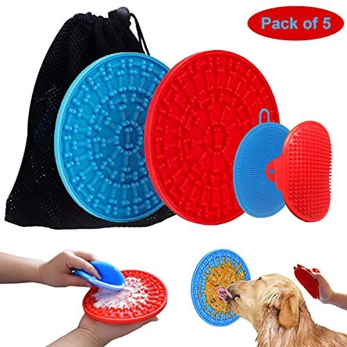 RJSEMIFUN Dog Lick Pads, Peanut Butter Lick Mat for Dogs, Slow Feeder Pad, Distraction Device for Dog Treats for Dog Bathing, Grooming and Training, Blue/Red, Pack of 4