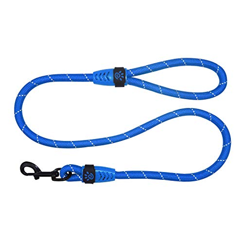 DOCO Reflective Rope Dog Leash with Stylish Loop Handle - Easy Grip, Quick Locking Snap for Dog Collar or Harness