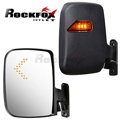 RockFox Outlet Universal Golf Cart LED Side Mirrors, Adjustable Side Mirrors for Club Car, EZGO, Yamaha and Others, Rear View Mirror with Turn Signals,Hardware Included.