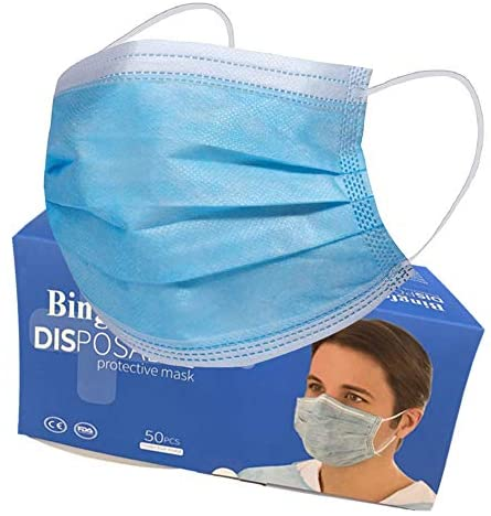 Disposable Face Masks, 50 PCS Daily Protective Mask 3 Ply Anti-Dust Breathable Mask