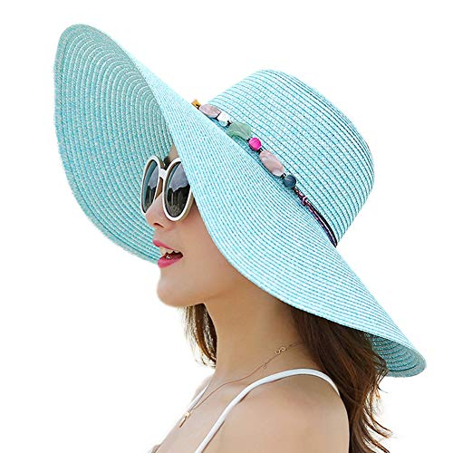 Women's Wide Brim Sun Protection Straw Hat,Folable Floppy Hat,Summer UV Protection Beach Cap Blue