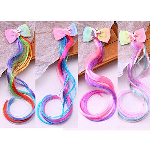 Sunormi 4 Pcs Multi-Colors Kids Girls Hair Clips In 15 inch Hair Extensions Ponytails Hair Weave Unicorn Bows For Girls Dress Up