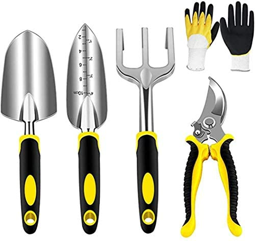 LISHAN Garden Tools Set for Women Gardening Kit Includes Hand Trowel Transplant Trowel Cultivator Hand Rake with Soft Rubberized Non-Slip Ergonomic Handle Work Gloves Cutter Clippers 5 Piece (Yellow)