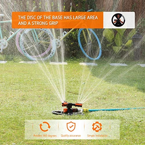 VIVOSUN Garden Sprinkler Adjustable Lawn Irrigation System 360 Degree Rotating Lawn Sprinkler Automatic Garden Water Sprinklers with Hose Quick Connect Adapter