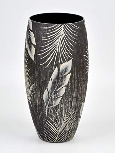 Bright Stroke 11.8 Inch Tall Round Hand Painted Decorative Glass Vase with Tropical Leaf Design