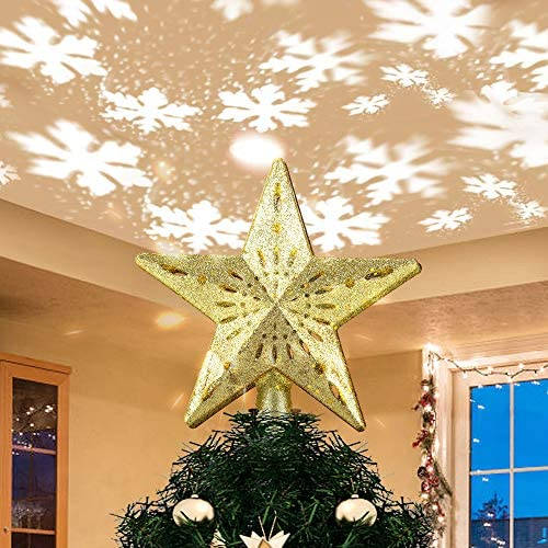 Yostyle Christmas Tree Topper Lighted Star Tree Topper with LED Rotating Snowflake Projector Lights,3D Hollow Golden Star Snowflake Tree Topper for Xmas Tree Decorations