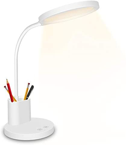 LED Desk Lamp,Golspark Touch Control Desk Lamp 3 Color Modes with Stepless Dimmable,360°Flexible Desk Lamp with USB Charging Port Pen Holder,Rechargeable White Desk Lamp for Students,Dorm Reading