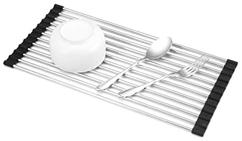 "Roll-up Dish Drying Rack 17""(L) x 8""(W) Over the Sink, Foldable Multipurpose Stainless Steel Sink Drying Racks"