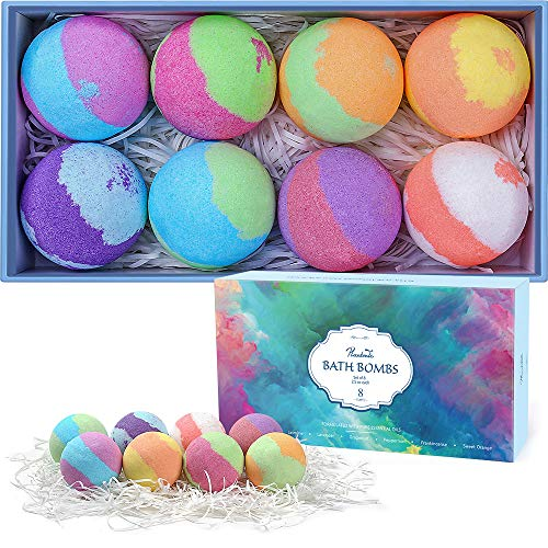 Bath Bombs Gift Set, Multi-Colored Vegan Bath Bomb Kit in Luxurious Gift Box with Organic Essential Oils, Exclusive Floating Fizzies with Rich Bubbles (8-Pack)