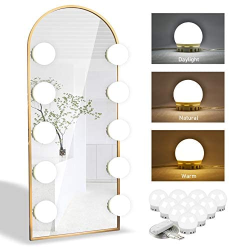 Vanity Lights for Mirror - Honesorn Hollywood Style Vanity Mirror Lights with Dimmable 10 LED Bulbs for Makeup Table, Mirror Lighting Fixture Strip with USB Charging Cable (Mirror Not Include)