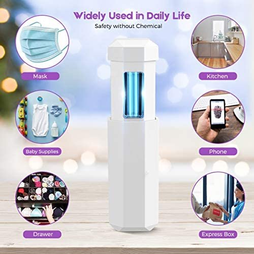 BOPOREA UV Light Sanitizer Travel Wand, Portable UV Light Mini Sanitizer Disinfection for Hotel Household Wardrobe Toilet Car Pet Area,USB Charge