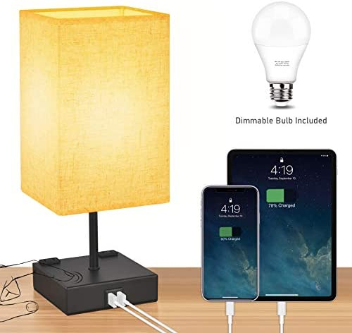 3-Way Touch Control Table Lamp Dimmable,Honesorn Bedside Lamp with 2 USB Charging Ports and AC Outlets,Modern Nightstand Lamp with Square Fabric Shade and Dimmable LED Bulb for Bedrooms, Guest Room